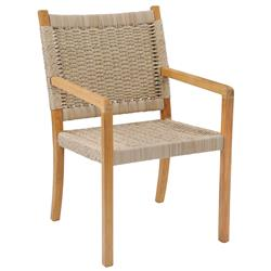 Kingsley Bate Hudson Coastal Beach Woven Wicker Teak Outdoor Dining Arm Chair with White Cushion