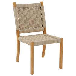 Kingsley Bate Hudson Coastal Beach Woven Wicker Teak Outdoor Dining Side Chair with White Cushion