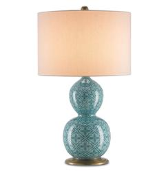 Sadya Persian Blue Global Bazaar Bohemian Porcelain Table Lamp