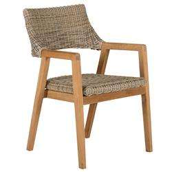 Kingsley Bate Spencer Mid Century Brown Wicker Teak Outdoor Dining Arm Chair