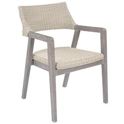 Kingsley Bate Spencer Mid Century Grey Wicker Teak Outdoor Dining Arm Chair