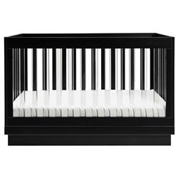 Babyletto Harlow Black Pine Wood 3-in-1 Convertible Crib with Toddler Bed Conversion Kit