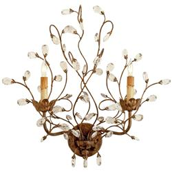 Della Regency Crawling Crystal Buds Wall Sconce