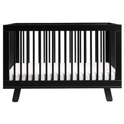 Hudson Mid Century Black Pine Wood 3-in-1 Convertible Crib
