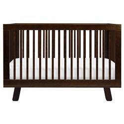 Hudson Mid Century Brown Pine Wood 3-in-1 Convertible Crib