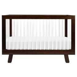 Hudson Mid Century Brown Wood White Accent 3-in-1 Convertible Crib