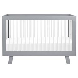 Hudson Mid Century Grey Wood White Accent 3-in-1 Convertible Crib