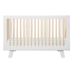 Hudson Mid Century White Wood Brown Accent 3-in-1 Convertible Crib