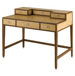 Balamor Hollywood Regency Reclaimed Wood Antique Parchment Desk | CC-3186