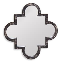 Jabal Contemporary Quatrefoil Buffalo Horn Inlay Wall Mirror