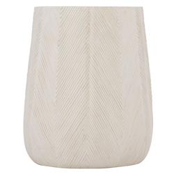 Brandon Coastal Beach Ivory Textured Stonecast Outdoor Side End Table
