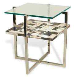 Bellaver Hollywood Regency Wood Mosaic Glass Side Table