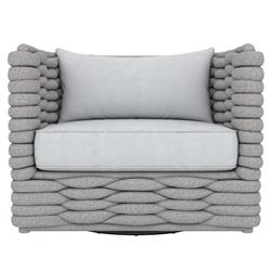 Wesley Modern Grey Upholstered Woven Outdoor Swivel Arm Chair
