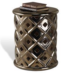 Povah Hollywood Regency Dark Gold Ceramic Garden Stool