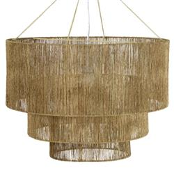 Avery Coastal Beach Natural Brown Jute Rope Wrapped 3 Tier Chandelier
