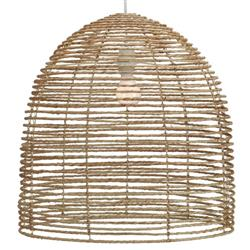 Bethany Coastal Beach Natural Brown Jute Dome Chandelier