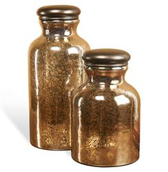 Tetovo Global Bazaar Bronze Glass Jars - Set of 2 | 215086