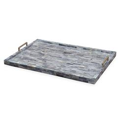 Interlude Interlude Riika Global Bazaar Blue Bone Serving Tray