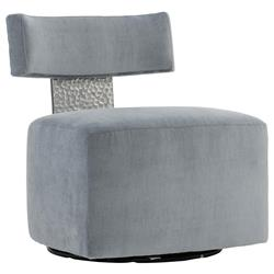 Elsie Modern Classic Grey Upholstered Stainless Steel Accent Swivel Chair