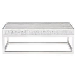 Uma Modern Classic Clear Acrylic Top Stainless Steel Square Coffee Table