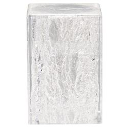 Uma Modern Classic Clear Acrylic Grain Patterned Outdoor Side End Table