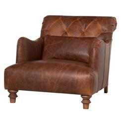 Cisco Brothers Acacia British Industrial Rustic Leather Large Accent Chair