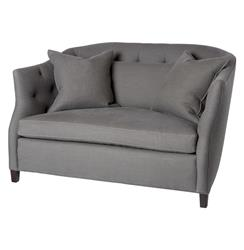 Luccia Hollywood Regency Feather Down Aspen Gray Double Chair