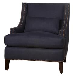 Bruno Hollywood Regency Dark Blue Linen Feather Down Accent Wing Chair