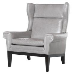 Lyto Mid Century Wing Back Masculine Grey Leather Accent Chair