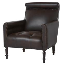 Romero Masculine Espresso Leather Library Accent Chair