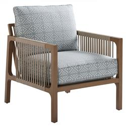 Tommy Bahama St Tropez Modern Blue Cushion Brown Aluminum Outdoor Lounge Chair