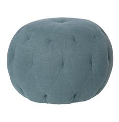Cisco Brothers Lana Global Bazaar Firm Denim Blue Linen Round Ottoman - 26 Inch