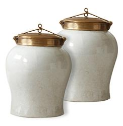 White Crackle Blossom Asian Porcelain Bronze Lidded Small Tea Jar - Pair | TZ-ASB062-W
