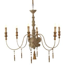 European Country Italian 6 Light Grey Wash Chandelier