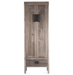 Ming Reclaimed Oak Industrial Asian Inspired Tall Cabinet