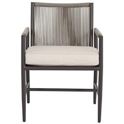 Sunset West Pietra Mid Century Ash Cushion Aluminum Outdoor Dining Arm Chair