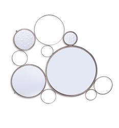 Brigit Modern Silver Leaf Bubble Mirror