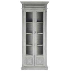 Bernard Masculine Regency Style Antique Gray Distressed Tall Cabinet