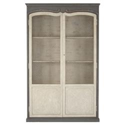 Dorsey Putty White French Country Grey Mesh Tall Cabinet