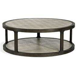 Interlude Litchfield Modern Classic Grey Shagreen Wood Round Round Coffee Table