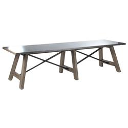 Calistoga Industrial Rustic Galvanized Steel 12 Person Dining Table