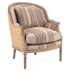 Raymond French Country Burlap Brown Stripe Accent Club Chair