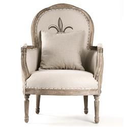 Tournon French Country Fleur de Lis Burlap Linen Accent Club Chair