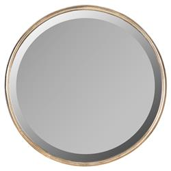 Libby Hollywood Regency Thin Frame Antique Bronze Round Mirror - 18 Inch
