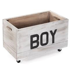 Industrial Loft Style Antique White Painted Storage Box on Casters - BOY