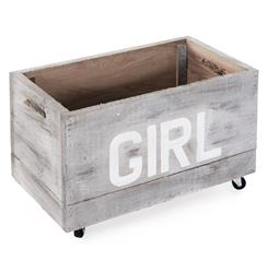 Industrial Loft Style Antique White Painted Storage Box on Casters - GIRL