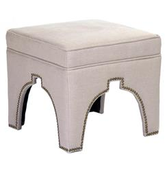 Stella Natural Linen Hollywood Regency Nail Head Ottoman Stool