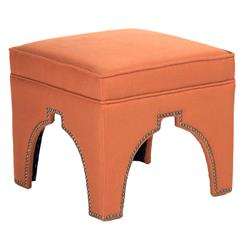 Stella Orange Linen Hollywood Regency Nail Head Ottoman Stool