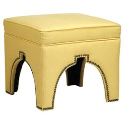 Stella Banana Yellow Linen Hollywood Regency Nail Head Ottoman Stool