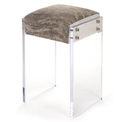 Modern Hollywood Regency Cowhide Acrylic Vanity Counter Stool